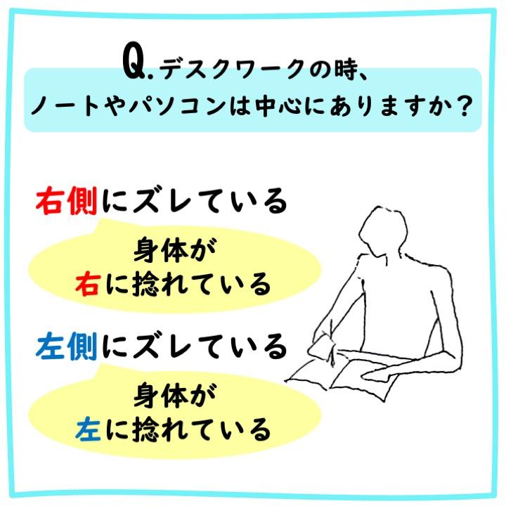 デスクワーク時の姿勢による身体の左右差