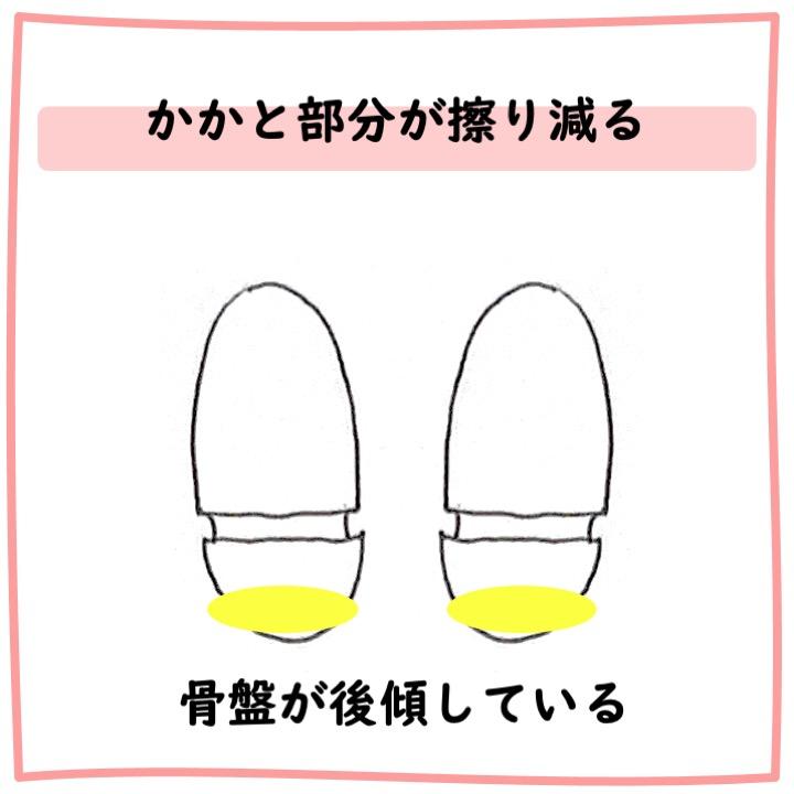 靴底 かかと部分が擦り減る
