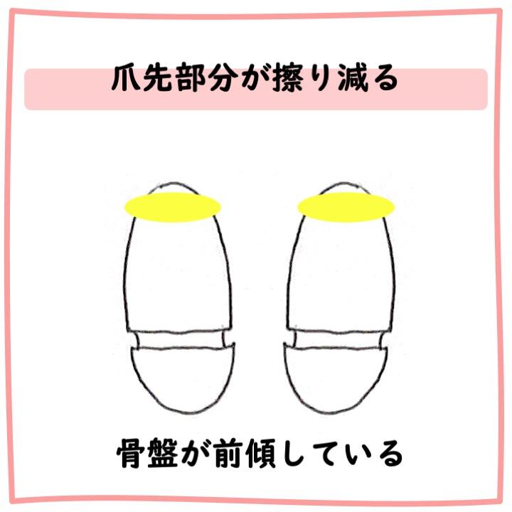 靴底 爪先部分が擦り減る