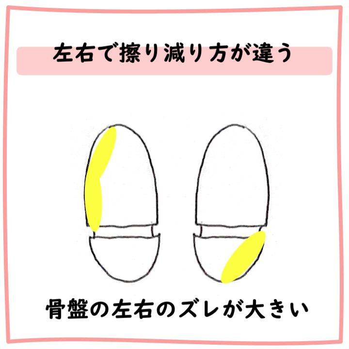 靴底 左右で擦り減り方が違う